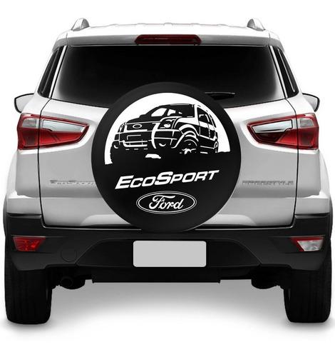 capa de estepe ecosport 03 a 18 ford preto branco c/ cadeado