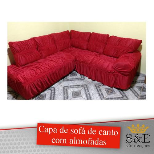 capa de para sofá de canto com almofadas - sob medida
