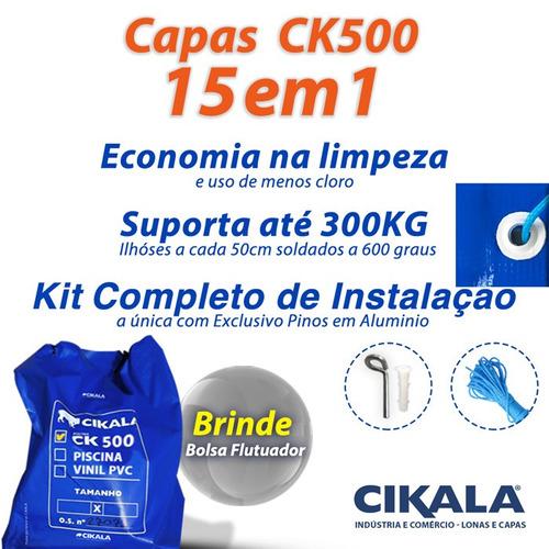 capa de piscina 15 em 1 pvc 500 segurança+térmica 6,5x3,5 m
