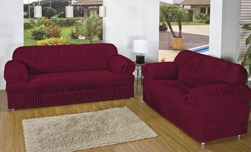 capa de sofá 3 e 2 lugares elásticada cores lisas tabaco