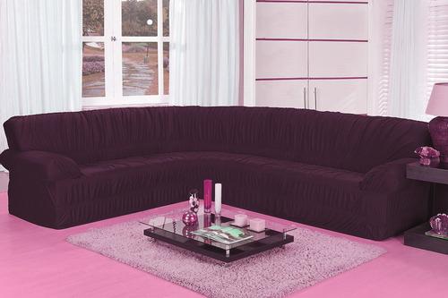 capa de sofa canto elasticada malha até 6 lug diversas cores