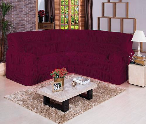 capa de sofá de canto até 06 lugares - vinho