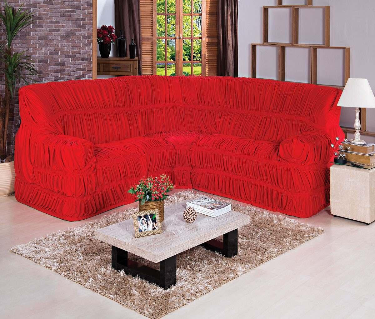 Capa de sof de canto at 6 lugares vermelha r 104 90 for Sofa 6 lugares de canto