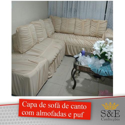 capa de sofá de canto c 7 capas de almofadas e1 capa de puf