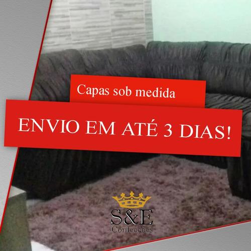 capa de sofá de canto com chaise e almofadas - sob medida