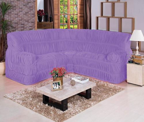 capa de sofá de canto elásticada até 06 lugares - cinza