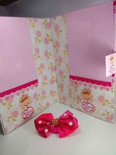 capa dura para caderneta de vacina ursa princesa