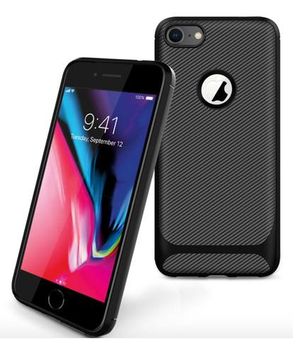 capa em gel fibra de carbono para apple iphone 7 / 8 - preta