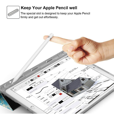 capa ipad 9.7 2017 à 2019 wb couro com compart. apple pencil