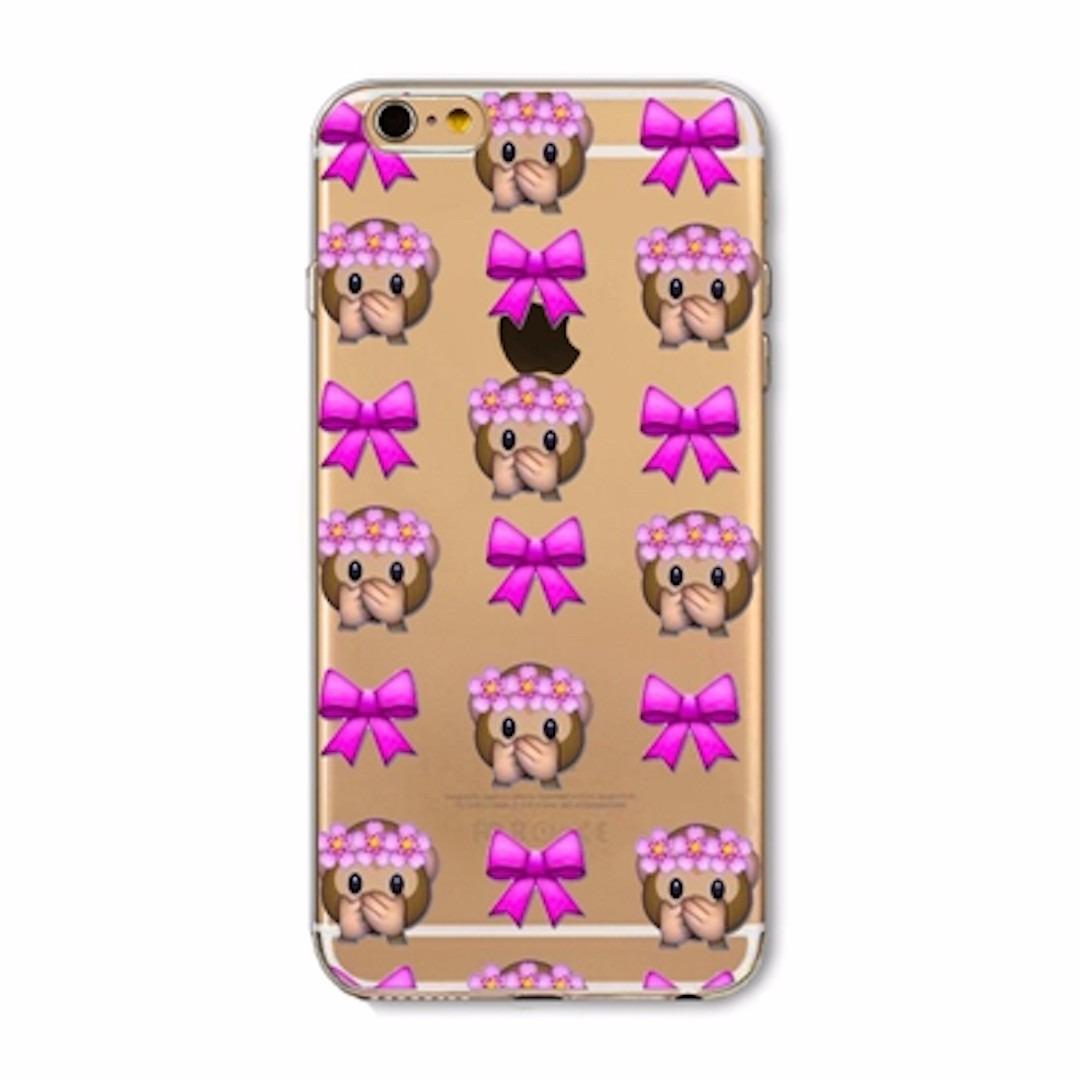 Capa Iphone 4 4s 5 5s Se 5c 6 6s Emoji Transparente Silic
