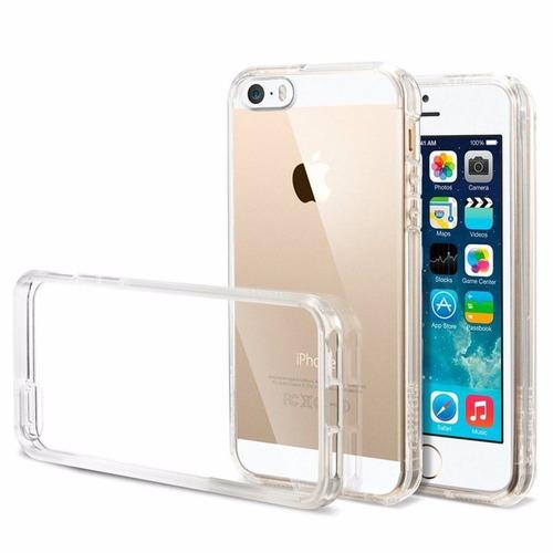 capa iphone 5 5s transparente tpu flexível + película vidro