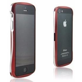 Capa iPhone 5/5s Bumper Alumínio Vermelho E Prata- Reforçado