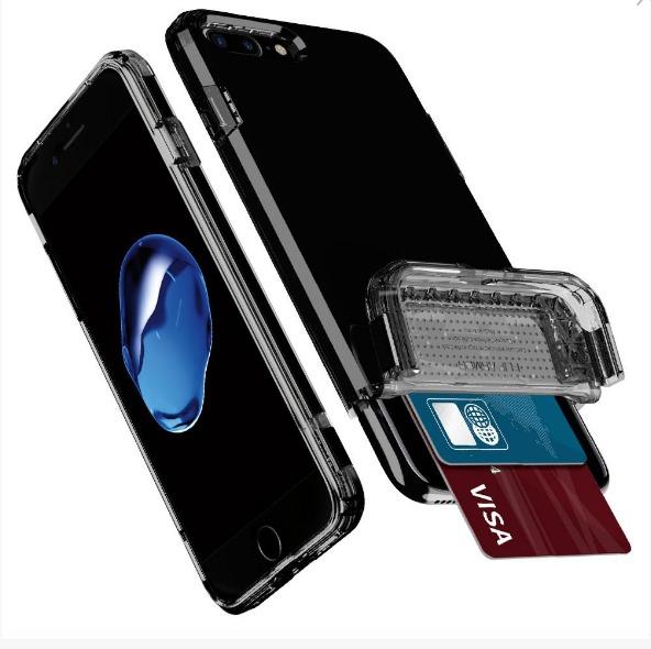new style 20eda 5ef66 Capa iPhone 7 Plus Spigen Flip Armor Porta Cartao Jet Black
