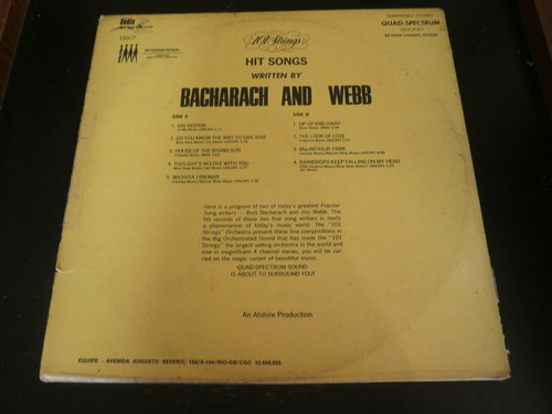 capa lp hits songs written by bacharach and webb - obs