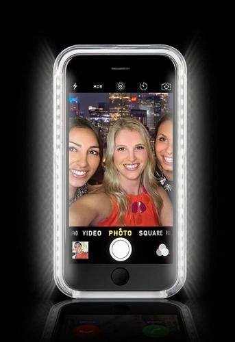 capa lumee case led iphone 6 plus 6s plus p/ selfie dourada