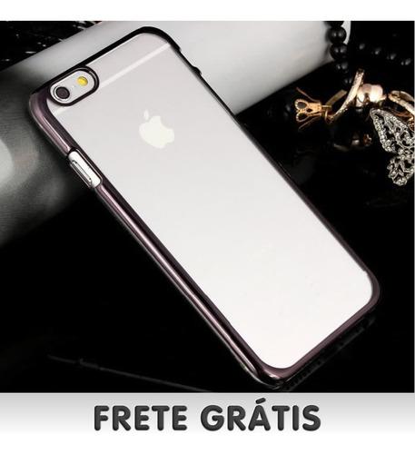capa luxo iphone 6 6s borda metálica c/fundo transparente