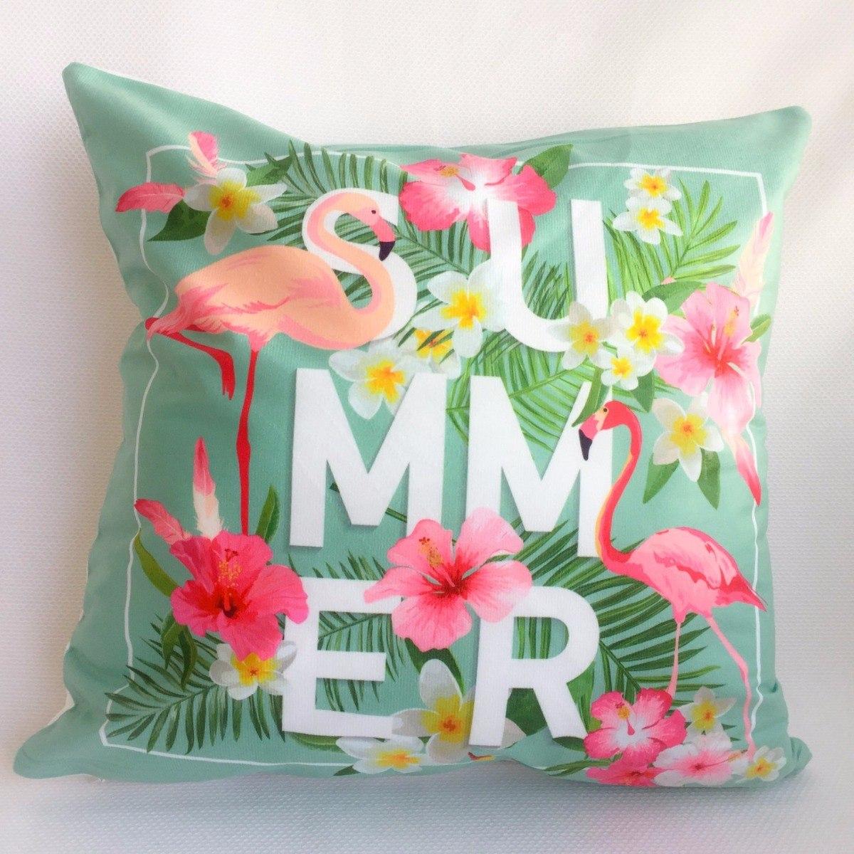 9bccd6c10b capa para almofada tecido estampadas verão flamingo summer. Carregando zoom.