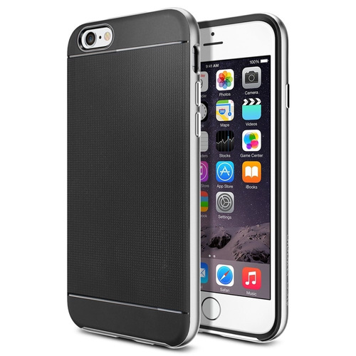 capa para iphone 6 (4.7) - modelo neo hybrid bumber prata