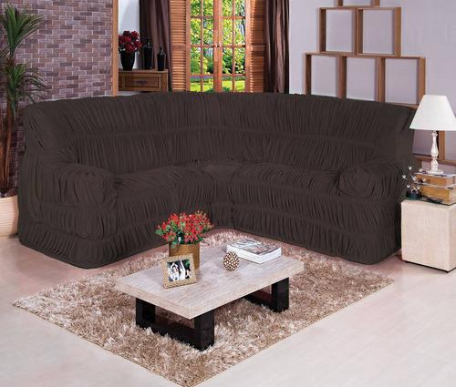 capa para sofá de canto 1 pç várias cores malha gel