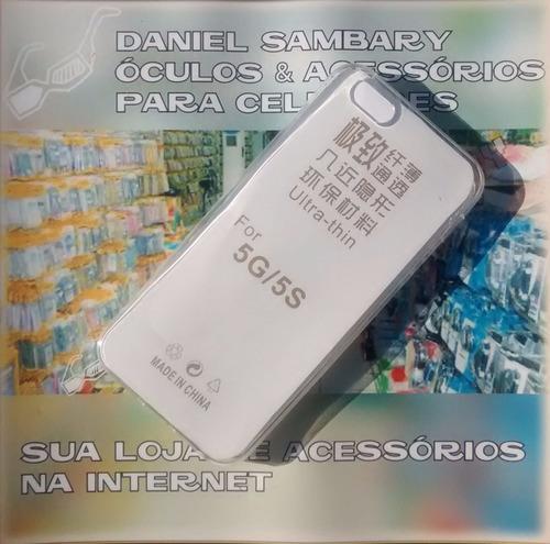 capa + pelicula de vidro ultra fina casca ovo p/ iphone 5 5s