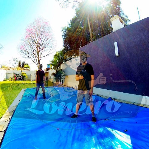 capa piscina 7x12 lona américa térmica + parafuso + extensor