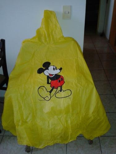 capa poncho de agua amarilla con gorro unisex mickey