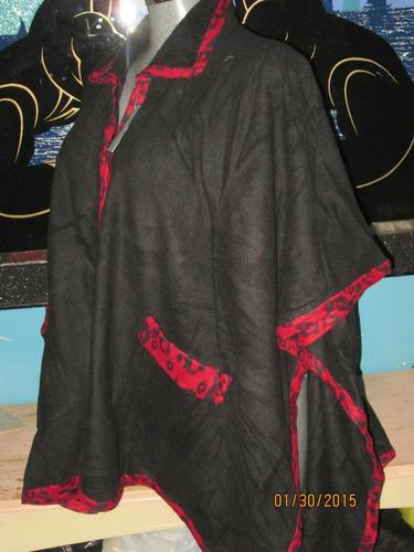 capa poncho negra con orillas  rojas  unitalla plus 3x 4x 5x