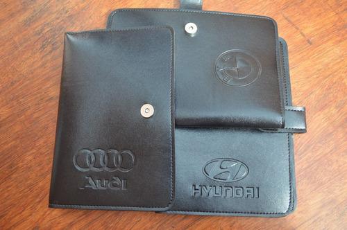 capa porta manual do proprietário em couro sintético carros