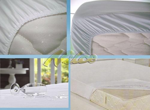 capa protetor  colchão impermeavel   pvc casal box kit c 4