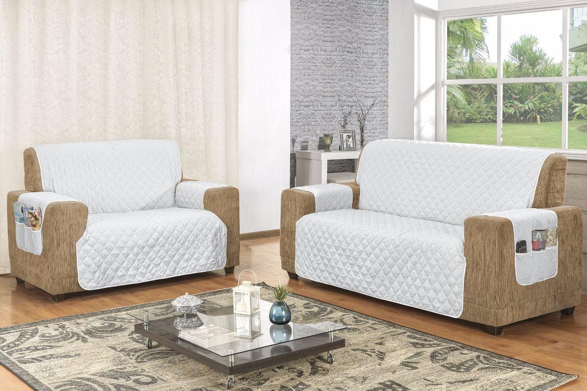 Capa protetor de sof 3 e 2 lugares branco r 74 99 em - Medidas de sofas 3 2 ...