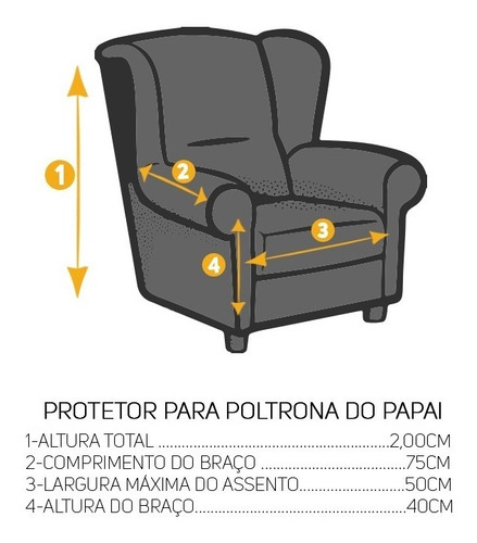 capa protetor sofá de 1 lugar poltrona do papai avulso