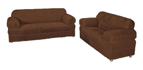 capa protetor sofá malha gel 21 elásticos 2 e 3 lug avelã