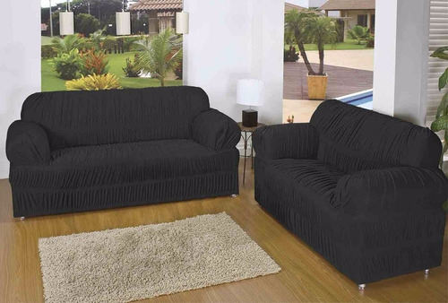 capa protetor sofá malha gel 21 elásticos 2 e 3 lug preta