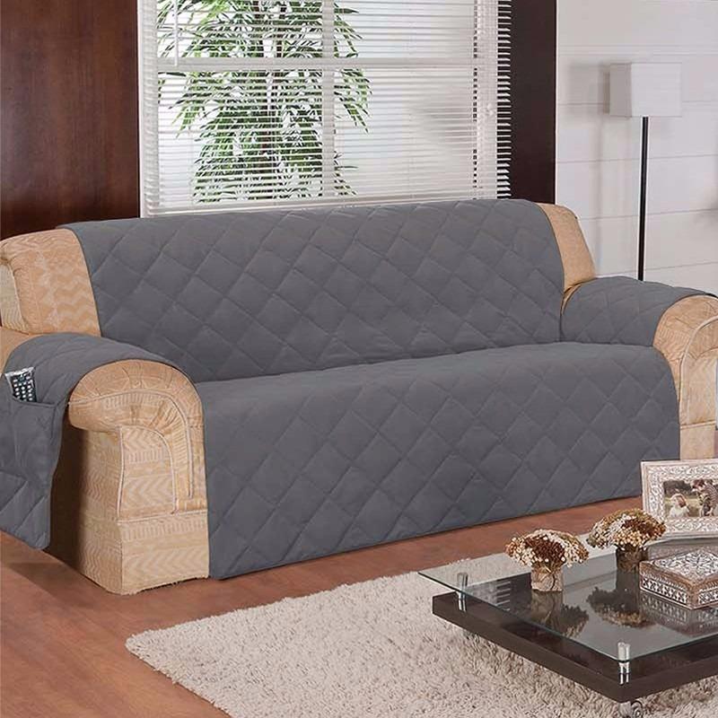 Capa Protetor Sofa Na Cor Cinza 3 Lugares Em Microfibra ...