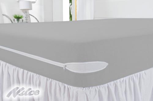capa protetora colchão poliester casal  com zíper