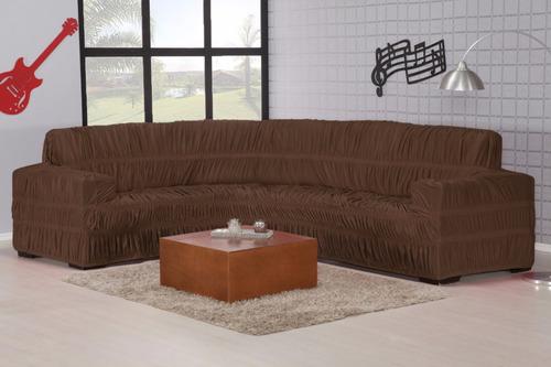 capa protetora de sofa de canto elasticada para 5/6 lugares
