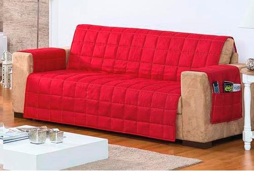 capa protetora para sofa de 3 lugares tabaco matelado