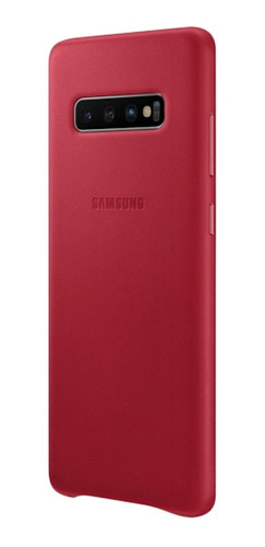 capa protetora samsung galaxy s10+ couro vermelho