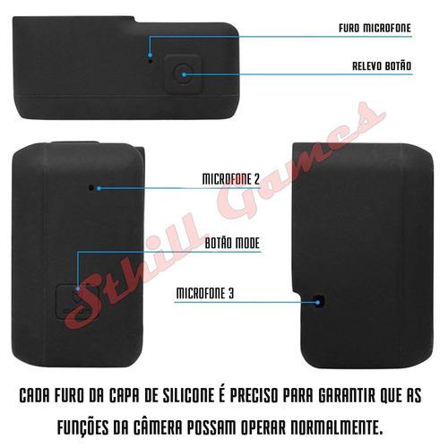 capa protetora + tampa em silicone gopro hero 5,6 e 7 azul