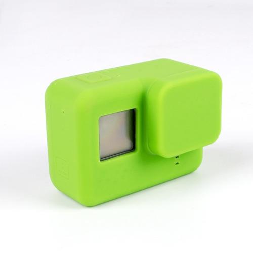 capa protetora + tampa em silicone gopro hero 5,6 e 7 verde