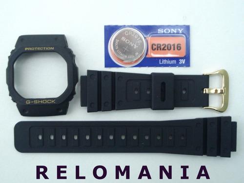 capa + pulseira + bateria casio g-shock dw-5600 ouro rosca