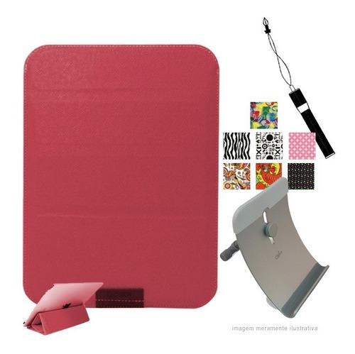 capa r tablet ate 8 + caneta touch + suporte + 3 adesivos