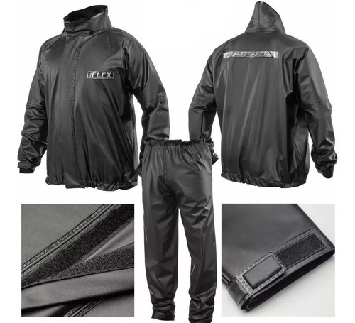 capa roupa de chuva delta flex pvc preta moto motoqueiro