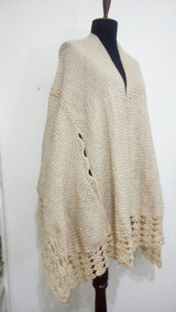 87019fc75 Capa Ruana Abertura Para Brazos Tejida Telar Crochet Lana