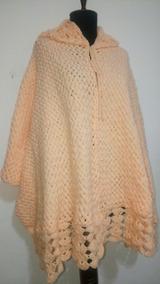 navegar por las últimas colecciones estilo de moda descuento más bajo Capa Ruana Con Capucha Tejida Telar Crochet Lana