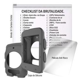 Capa Silicone Garmin 520 Preta + Pelicula + Cart. Ciclista