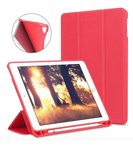 capa smartcase apple new ipad 9.7 c/ suporte pencil vermelha
