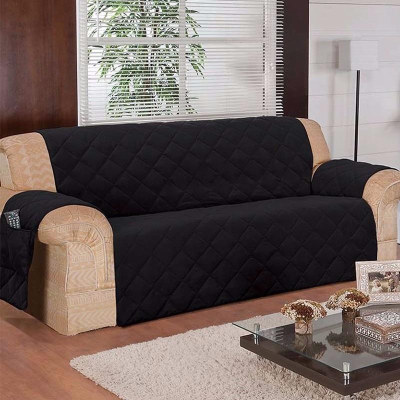 Capa Protetor Sofa Na Cor Preto 3 Lugares Em Microfibra ...