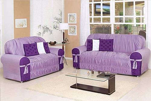 capa sofá glamour lilás/roxo 2 e 3 lugares c/ 19 elásticos