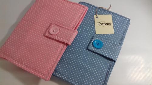 capa tecido caderneta de vacinação - menino - poá azulzinho